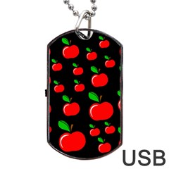 Red apples  Dog Tag USB Flash (One Side)