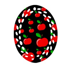 Red apples  Oval Filigree Ornament (2-Side)