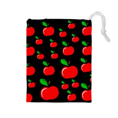 Red apples  Drawstring Pouches (Large)