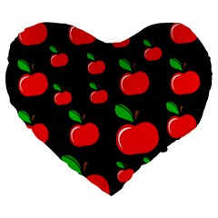 Red apples  Large 19  Premium Flano Heart Shape Cushions