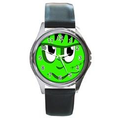 Halloween Frankenstein - Green Round Metal Watch