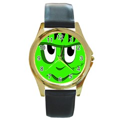 Halloween Frankenstein - Green Round Gold Metal Watch