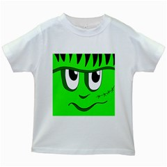 Halloween Frankenstein - Green Kids White T-Shirts