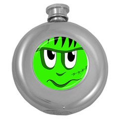 Halloween Frankenstein - Green Round Hip Flask (5 oz)