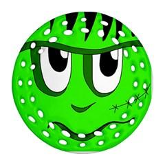 Halloween Frankenstein - Green Round Filigree Ornament (2Side)