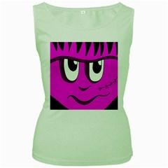 Halloween - pink Frankenstein Women s Green Tank Top