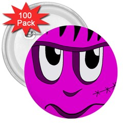 Halloween - pink Frankenstein 3  Buttons (100 pack)