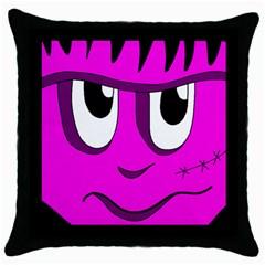 Halloween - pink Frankenstein Throw Pillow Case (Black)