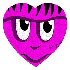 Halloween - pink Frankenstein Jigsaw Puzzle (Heart)