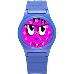 Halloween - pink Frankenstein Round Plastic Sport Watch (S)