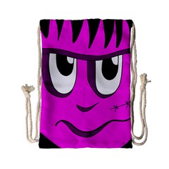 Halloween - pink Frankenstein Drawstring Bag (Small)