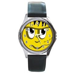 Halloween Frankenstein - yellow Round Metal Watch