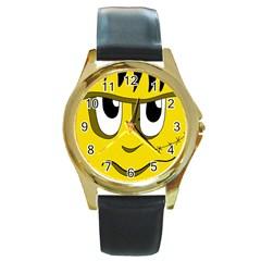 Halloween Frankenstein - yellow Round Gold Metal Watch