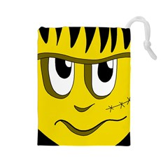 Halloween Frankenstein - yellow Drawstring Pouches (Large)