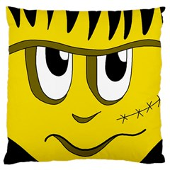 Halloween Frankenstein - yellow Large Flano Cushion Case (One Side)