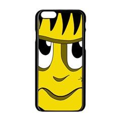 Halloween Frankenstein - yellow Apple iPhone 6/6S Black Enamel Case