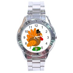 Thanksgiving Turkey   Transparent Stainless Steel Analogue Watch
