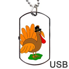 Thanksgiving turkey - transparent Dog Tag USB Flash (Two Sides)