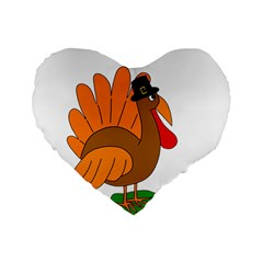 Thanksgiving turkey - transparent Standard 16  Premium Flano Heart Shape Cushions