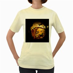 Halloween, Funny Pumpkin With Skull And Spider In The Night Women s Yellow T-Shirt