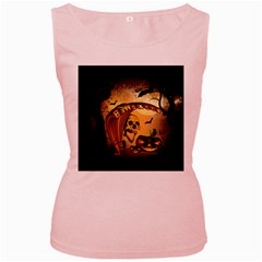 Halloween, Funny Pumpkin With Skull And Spider In The Night Women s Pink Tank Top