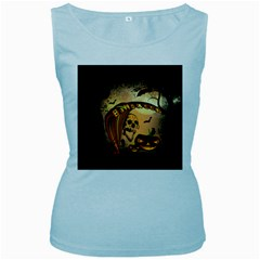 Halloween, Funny Pumpkin With Skull And Spider In The Night Women s Baby Blue Tank Top