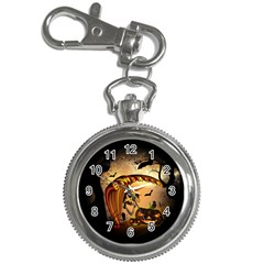 Halloween, Funny Pumpkin With Skull And Spider In The Night Key Chain Watches
