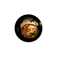 Halloween, Funny Pumpkin With Skull And Spider In The Night Golf Ball Marker