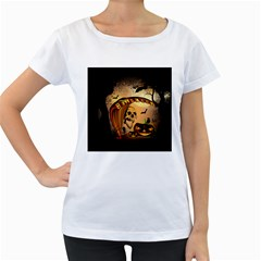 Halloween, Funny Pumpkin With Skull And Spider In The Night Women s Loose-Fit T-Shirt (White)