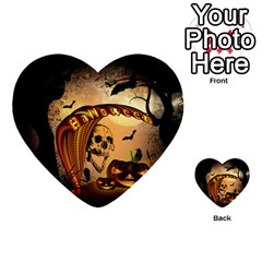 Halloween, Funny Pumpkin With Skull And Spider In The Night Multi-purpose Cards (Heart)