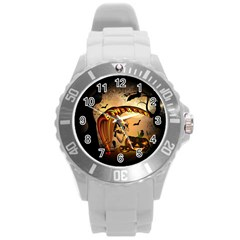 Halloween, Funny Pumpkin With Skull And Spider In The Night Round Plastic Sport Watch (L)