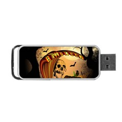 Halloween, Funny Pumpkin With Skull And Spider In The Night Portable USB Flash (One Side)