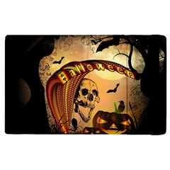 Halloween, Funny Pumpkin With Skull And Spider In The Night Apple iPad 3/4 Flip Case
