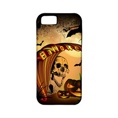 Halloween, Funny Pumpkin With Skull And Spider In The Night Apple iPhone 5 Classic Hardshell Case (PC+Silicone)