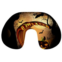 Halloween, Funny Pumpkin With Skull And Spider In The Night Travel Neck Pillows