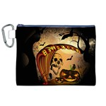 Halloween, Funny Pumpkin With Skull And Spider In The Night Canvas Cosmetic Bag (XL) Front