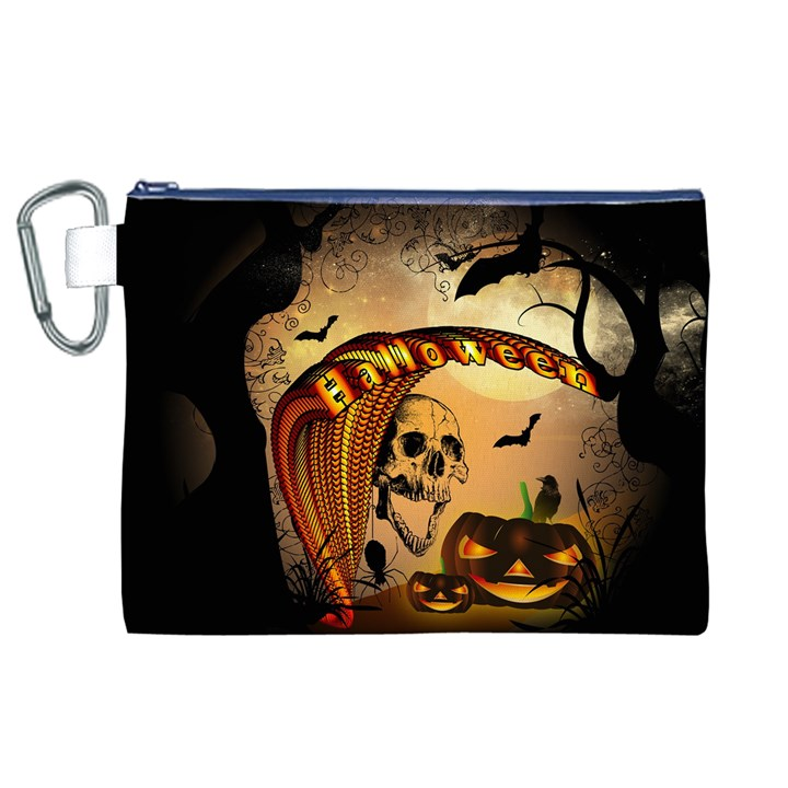 Halloween, Funny Pumpkin With Skull And Spider In The Night Canvas Cosmetic Bag (XL)