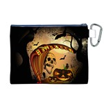 Halloween, Funny Pumpkin With Skull And Spider In The Night Canvas Cosmetic Bag (XL) Back