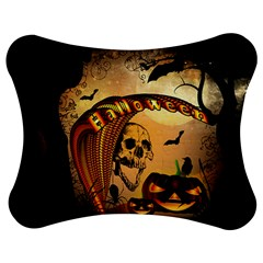 Halloween, Funny Pumpkin With Skull And Spider In The Night Jigsaw Puzzle Photo Stand (bow)
