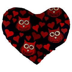 Owl You Need In Love Owls Large 19  Premium Heart Shape Cushions