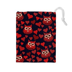 Owl You Need In Love Owls Drawstring Pouches (Large)