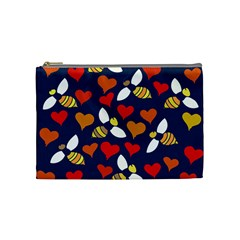 Honey Bees In Love Cosmetic Bag (medium)
