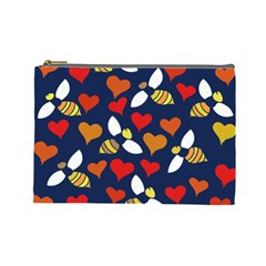 Honey Bees In Love Cosmetic Bag (Large)