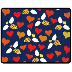 Honey Bees In Love Fleece Blanket (medium)