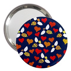 Honey Bees In Love 3  Handbag Mirrors