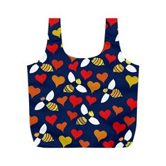 Honey Bees In Love Full Print Recycle Bags (m)