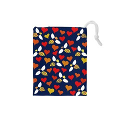 Honey Bees In Love Drawstring Pouches (small)