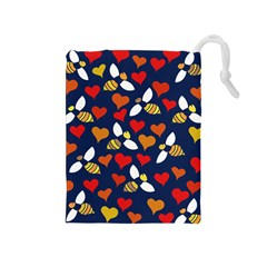 Honey Bees In Love Drawstring Pouches (Medium)