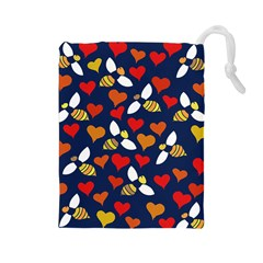 Honey Bees In Love Drawstring Pouches (Large)