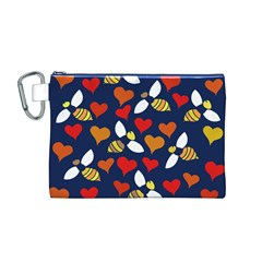 Honey Bees In Love Canvas Cosmetic Bag (m)